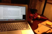 A glass of wine and a computer. Pretty much sums up life in Wisconsin for me.