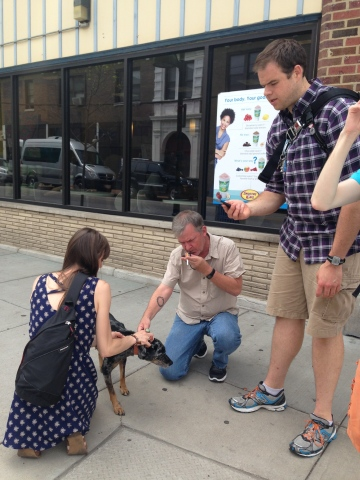 In addition to being writers, we are also superheroes. Here are some of my new friends helping a lost dog find its owner.