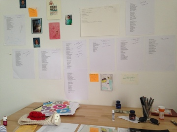One of my desks. The wall behind it shows inspirational words, signs of home, and every poem I've ever had accepted.